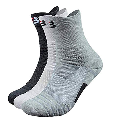 Litthing Socken Männer Europa und Amerika Männer Sport Verdickung-Socken aus Baumwolle Anti-Rutsch-Socken für Basketball, Laufen, Federball usw. (Lang 1 Schwarz I Weiß 1Grau)