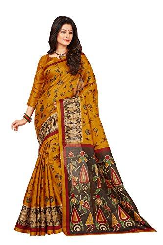 AppleCreation sarees for women Sale Offer Printed saree ( Mustard Yellow_5MDB8754D_Free Size...