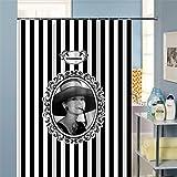 YLG® 1 pieza 12 ganchos baño caliente cuarto de baño impermeable cortina de ducha rayas blancas y negro estilo moderno hogar dibujos animados ducha cortina gancho , E , 180*200