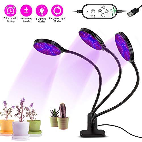 LIFU Led Pflanzenlampe Vollspektrum 45W 234LEDs Grow Light mit 3 automatisch Timer (4H/8H/12H),5 Helligkeitsstufen,9 Lichtmodi verstellbar Dreiköpfe Pflanzenlicht IP66 Wasserdicht USB 5V 2A