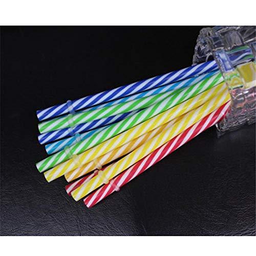 nkhalm für Einmachglas Tumbler 10 Stück Bunte Hartplastik Trinkhalm Stripe Party Dekoration wiederverwendbar ()