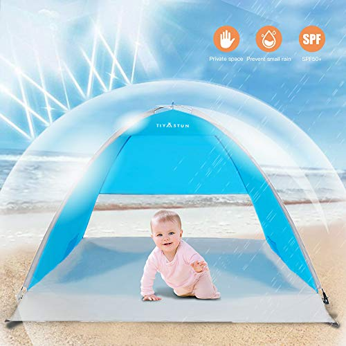 TIYASTUN Strandmuschel mit Lüftungsfester pop up Strand-Zelt Sonnenschutz Windschutz Automatik Familie Kinder für Strand Garten See Freibad Balkon Angeln Terrasse