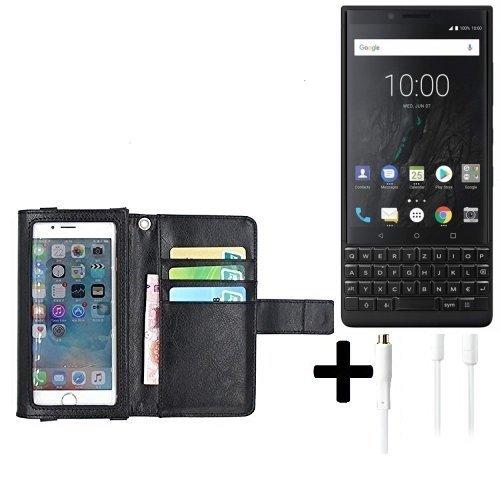 K-S-Trade TOP Set für BlackBerry KEY2 (Dual-SIM) Schutz Hülle Case mit Bildschirmschutz/Schutzfolie schwarz + Kopfhörer Flip Cover Wallet case Etui Hülle Für BlackBerry KEY2 (Dual-SIM)