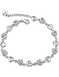 Meyiert S925 Sterling Silver Bracelet Cubic Zirconia Crystal Heart Bracelet with a Gift Box