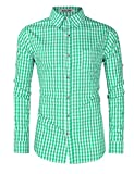 KUULEE Trachtenhemd Herren Kariert Karo Langarmhemd Trachten Hemd in Verschiedenen Farben