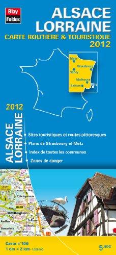 Alsace - Lorraine, Carte Routière Régionale Touristique N°106. Plan du centre-ville de Strasbourg - Echelle : 1/200 000 avec index - Edition 2012