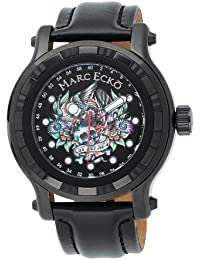 Marc Ecko Men's The Flyaway Black Dial Watch E16580G1 With Black Leather Strap