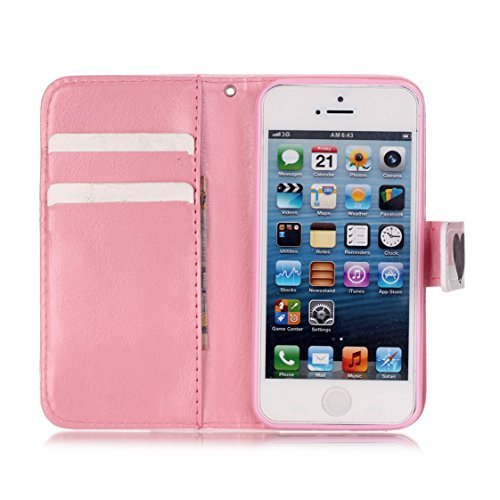 AYASHO® Coque iPhone SE / 5s, PU Cuir Etui Pochette Flip Wallet Housse Motif Style Mode Bookstyle Case Cas Portable Holster Pour Apple iPhone SE (Special Edition) / 5 / 5s , A28 D10