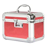 #7: STRIPES Wedding Bridal Silver / Red Colour Make up Box/Vanity Box with Two Layer With Number Lock Jewellery Box (RED)