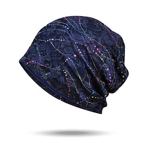 WELROG Chemo Hut Frau Hut Spitzen Kopftuch Super Weich Slouchy Turban Kopfbedeckungen Kopf Wraps(Navy blau)
