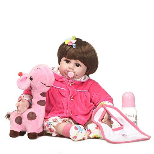 ll Silikon Reborn Baby Simulation Puppe Spielzeug Neugeborenen lebensechte Mädchen (Farbe: pink) (Mädchen Rag Doll Perücke)