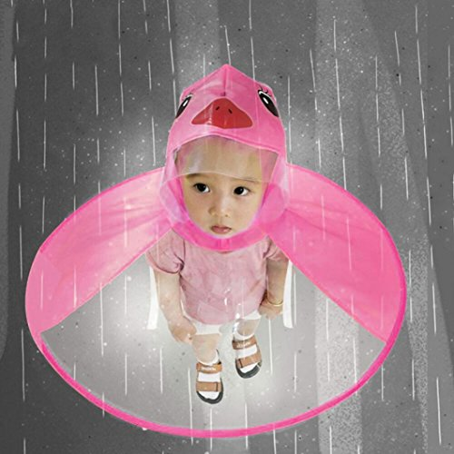 gaddrt Netter Regen-Mantel UFO-Kind-Regenschirm-Hut-Magische Hände Geben Regenmantel Frei (Pink, S)
