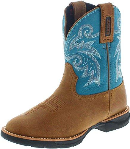 RKW0219 M Brown Turquoise/Damen Westernreitstiefel Braun/Westernstiefel Türkis/Damenstiefel, Groesse:38.5 (7 US) (Western Stiefel Für Frauen Größe 7)