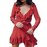 Aelegant Damen Frauen Vintage Sommer Minikleid mit Tiefem V-Ausschnitt Volant Rüschen Verband Polka Dots Strandkleid Chiffonkleid Freizeitkleid Abendkleid Party Kleid