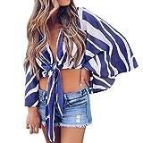 TianWlio Damen Langarmshirt Bluse T-Shirt Tops Frauen Winter Mode Gestreifte Lange Bell Sleeve V-Ausschnitt vorne Krawatte Knoten T Shirt Tops Bluse