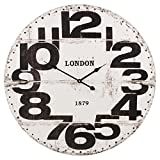 "Large Wood Vintage Wall Clock Round 24"" Big Display (White)"