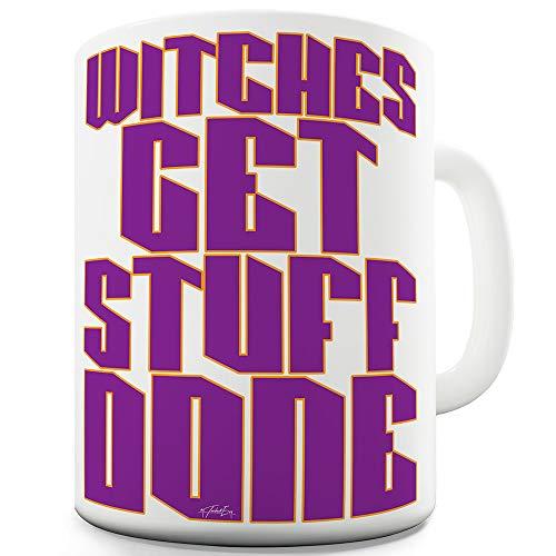 TWISTED ENVY Witches Get Stuff Done Keramiktasse, Keramik, weiß, 15 OZ (Arbeitsplatz-kostüme Für Halloween)