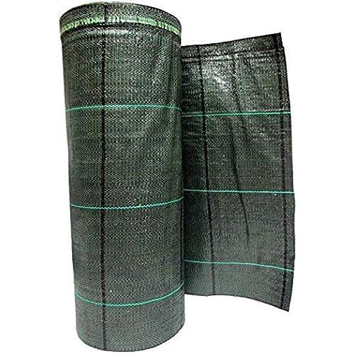 Telo Pacciamatura Professionale anti alga / erbacce - Ecologico, permeabile, resistente e duraturo (103g/m2) - Elevata stabilizzazione UV - Teli pacciamante antistrappo in rotolo (52cm X 100m, Verde)