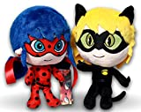 Prodigiosa 2x Peluches Ladybug y Adrien Cat Noir 25cm Las aventuras de Ladybug Muñecos Superhéroes Adrian y Marinette Peluche Superheroína Miraculous