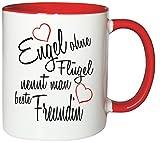 Mister Merchandise Kaffeebecher Tasse Engel ohne Flügel nennt man beste Freundin BFF Freund Mädchen Freundschaft Friends Teetasse Becher Weiß-Rot