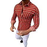 DNOQN Oversize Shirt Herren Longsleeve Langarm Hemden Lange Ärmel T-Shirts Ausgebeult Streifen Ausschlagen Retro Oberteile Bluse rot XXL