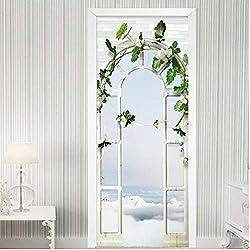 Tapeten Türtapete Türfolie Selbstklebende 3D Stereo Palace Arch Garten Wallpaper Für Wohnzimmer Schlafzimmer Pvc 90X200Cm