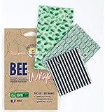 Bee Wrap par Anotherway Pack 100% Bio - Emballage Alimentaire Réutilisable de Cire d'abeille - Lot de 3 : 1 Petit, 1 Moyen et 1 Grand | Fabriqué en France MyBeeWrap