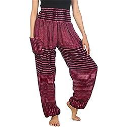 Lofbaz Mujer Colorido 1 Smocked Cintura Harén Pantalones Rosa Size S