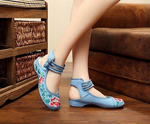 Gxs Chaussures Brodées, Lin, Rideaux Simples, Style Ethnique, Chaussures Femme, Mode, Confortable, Sandales Bleues