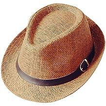 Westeng Sombrero de Paja Anti-Sol Sombrero de Jazz Anti-UV Amantes del  Sombrero 24121f89e36