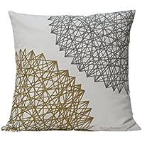 Cojín geométrico color oro y gris,medidas 40 x 40 cm y personalizadas, diseño BeccaTextile.