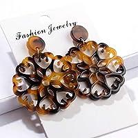 SSEHXL earring Personality Chic Geometric Round Hollow Acrylic Acetic Acid Sheet Drop Earrings For Women Girl Jewelry Bohemian Ethnic Earrings