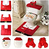 Christmas decoration Santa toilet Set seat cover & rug & tissue box cover set Gift by TGO