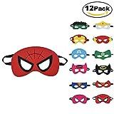 Willingood 12 x Kinder Masken | Super Masken | | Augen Masken | | Mitgebsel | Kindergeburstagen | Gastgeschenke für Cosplay Party masquerade im Alter von 3 bis 12 Jahre alt