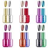 Freeorr 12 Farben Metallischer Nagellack, Langlebiger Herrlicher Glatter Spiegel-Effekt-Chrom-Nagel-Kunst-Polnisch Kit-12pcs