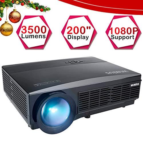 Proyector, WiMiUS Video Proyector 3800 Lúmenes Full HD Soporta 1080P Proyector Cine en Casa 50000 Horas Proyectores HD Compatible con Android/Tablets/iPhone /Mac /TV Stick/ PS4/ Xbox -Negro