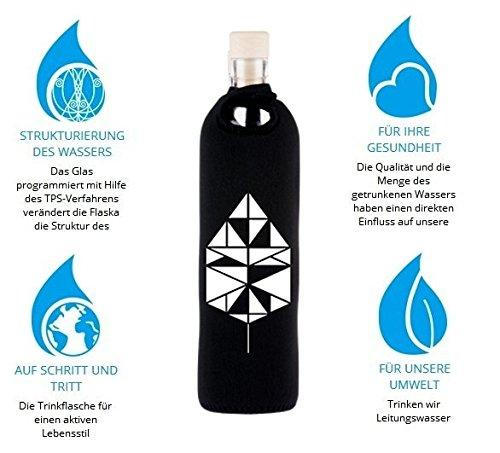 Design Neo Tangram 0,75 Liter - Flaska Trinkflasche Wasserflasche Glasflasche zum regelmäßigen Wassertrinken + 2 Korken