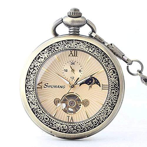 (Taschenuhren Mechanische Taschenuhr Bronze Alte Flip-Uhr Taschenuhr High-End-Bewegung Römische Taschenuhr (Braun) ZJ)