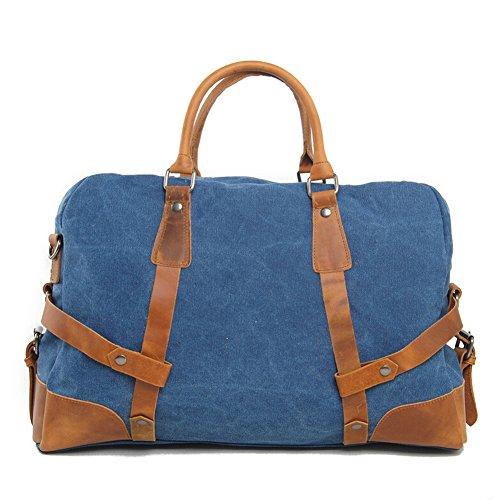Etasche Damen Herren Vintage Canvas Weekender Tasche Canvas Reisetasche Vintage Sprottasche (Grau) Blau