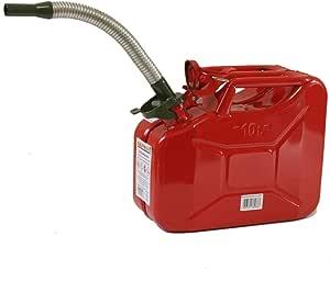 Stahlblechkanister Rot 10 Liter Benzinauslaufrohr Flexibel Benzinkanister Kanister Set Auto