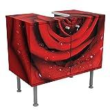 Apalis Rosen Waschbeckenunterschrank - Rote Rose mit Wassertropfen - Blumenbild Badschrank Rot Größe:55cm x 60cm