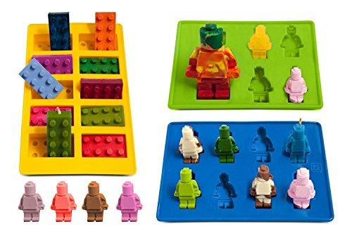 Vivin Eiswürfelbehälter und Pralinenformen Silikon 3-Teiliges Set, Süßigkeiten Formen,Form Süßigkeiten,Grundbausteine, Bausteine, Minifiguren und Figuren Silikon-Süßigkeiten Formen und Eisform