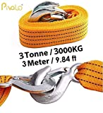 #3: Pivalo Car Tow Rope Straps with Self-Locking Hooks 3m Long 3 tons High Strength Polyester (Yellow)