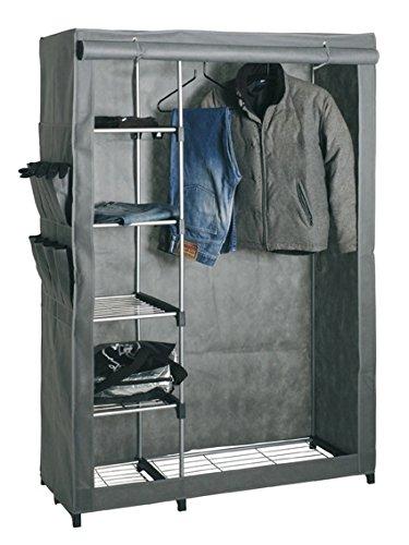Standgarderobe bzw. Kleiderschrank mit grauer Husse; Maße: 116x50x173 cm