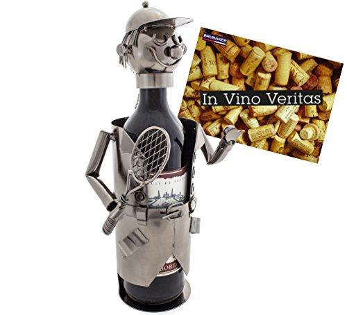 Brubaker Weinflaschenhalter Tennisspieler Metall Skulptur mit Geschenkkarte