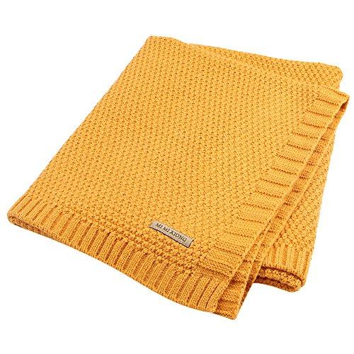 Per Organic Cotton Knitted Baby Decke Swaddle Empfangen Decken für Neugeborene Jungen Mädchen Kinder(Gelb) (Gelb-decken)