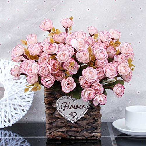 Flinfeays fiori artificiali fiori finti creativi fai da te festa di nozze cucina decorazioni per la casa composizione floreale grande decorazione piccolo vaso di vimini vaso di caffè-43