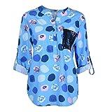 MOIKA Damen Bluse, Frauen V-Ausschnitt mit Langen Ärmeln Wave Point Printing Plus Size Tops Lose Bluse Langarm Oberteile Langarmshirt Tshirt Longbluse(EU40/L,Blau)