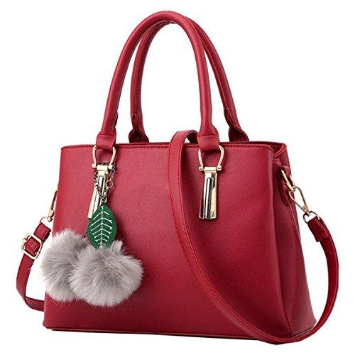 WU ZHI Ladies Borsa Borsa A Tracolla Borsa Messenger Bag Lychee Pattern Borsa Selvatica Grande Borsa Messenger Borsa Red
