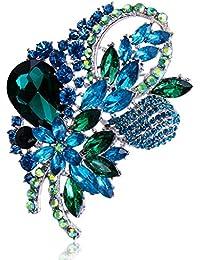 Broche de Jolie Fleur Strass en Alliage Vintage Elégante Femmes Mode Coloré